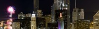 """Skyscrapers and firework display in a city at night, Lake Michigan, Chicago, Illinois, USA by Panoramic Images - 27"""" x 9"""""""