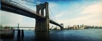 "Bridge across a river, Brooklyn Bridge, East River, Brooklyn, New York City, New York State by Panoramic Images - 27"" x 9"""