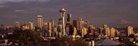 """Seattle skyline at dusk, King County, Washington State, USA 2010 by Panoramic Images, 2010 - 27"""" x 9"""""""