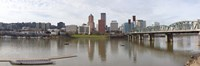 """Buildings at the waterfront, Willamette River, Portland, Multnomah County, Oregon, USA 2010 by Panoramic Images, 2010 - 27"""" x 9"""""""