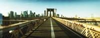 "City viewed from Brooklyn Bridge, Manhattan, New York City, New York State, USA by Panoramic Images - 27"" x 9"""