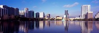 Buildings Reflecting in Lake Eola, Orlando, Florida Fine Art Print