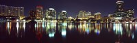 Buildings at night, Lake Eola, Orlando, Florida Fine Art Print