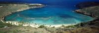 """High angle view of a coast, Hanauma Bay, Oahu, Honolulu County, Hawaii, USA by Panoramic Images - 27"""" x 9"""""""