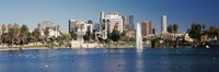 """Fountain in front of buildings, Macarthur Park, Westlake, City of Los Angeles, California, USA 2010 by Panoramic Images, 2010 - 27"""" x 9"""""""