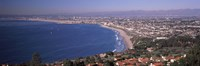 Aerial view of a city at coast, Santa Monica Beach, Beverly Hills, Los Angeles County, California, USA Fine Art Print