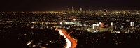 """City lit up at night, Hollywood, City Of Los Angeles, Los Angeles County, California, USA 2010 by Panoramic Images, 2010 - 27"""" x 9"""""""