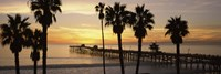 Silhouette of a pier, San Clemente Pier, Los Angeles County, California Fine Art Print
