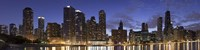 """Night Skyline, Lake Michigan, Chicago, Cook County, Illinois, USA 2010 by Panoramic Images, 2010 - 27"""" x 9"""""""