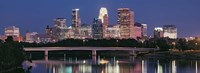 """Buildings lit up at night in a city, Minneapolis, Mississippi River, Hennepin County, Minnesota, USA by Panoramic Images - 27"""" x 9"""", FulcrumGallery.com brand"""