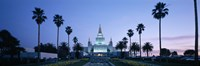 Oakland Temple at dusk, Oakland, California Framed Print