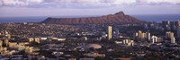 """City view of Honolulu with mountain in the background, Oahu, Honolulu County, Hawaii, USA 2010 by Panoramic Images, 2010 - 27"""" x 9"""""""