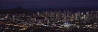 "High angle view of a city lit up at night, Honolulu, Oahu, Honolulu County, Hawaii, USA by Panoramic Images - 27"" x 9"" - $28.99"