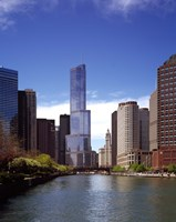 """Skyscraper in a city, Trump Tower, Chicago River, Chicago, Cook County, Illinois, USA by Panoramic Images - 9"""" x 27"""""""