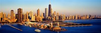 """Aerial view of a city, Navy Pier, Lake Michigan, Chicago, Cook County, Illinois, USA by Panoramic Images - 27"""" x 9"""""""