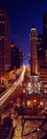 """Buildings lit up at night, Water Tower, Magnificent Mile, Michigan Avenue, Chicago, Cook County, Illinois, USA by Panoramic Images - 9"""" x 27"""""""