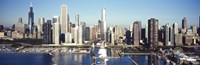 """Skyscrapers in a city, Navy Pier, Chicago Harbor, Chicago, Cook County, Illinois, USA 2011 by Panoramic Images, 2011 - 27"""" x 9"""""""