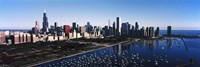 """Skyscrapers at the waterfront, Chicago Harbor, Lake Michigan, Chicago, Cook County, Illinois, USA 2011 by Panoramic Images, 2011 - 27"""" x 9"""""""