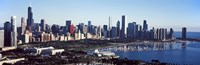 """Skyscrapers at the waterfront, Field Museum, Shedd Aquarium, Lake Michigan, Chicago, Cook County, Illinois, USA 2011 by Panoramic Images, 2011 - 27"""" x 9"""""""
