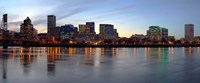 """Buildings at the waterfront, Portland, Multnomah County, Oregon, USA by Panoramic Images - 27"""" x 9"""""""