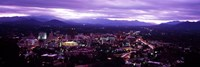 Aerial view of a city lit up at dusk, Asheville, Buncombe County, North Carolina, USA 2011 Fine Art Print
