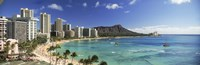 Buildings along the coastline, Diamond Head, Waikiki Beach, Oahu, Honolulu, Hawaii, USA Fine Art Print