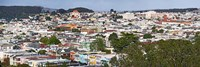 High angle view of colorful houses in a city, Richmond District, Laurel Heights, San Francisco, California, USA Fine Art Print