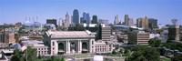 Union Station with city skyline in background, Kansas City, Missouri, USA Fine Art Print