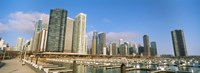 """Columbia Yacht Club with buildings in the background, Lake Point Tower, Chicago, Cook County, Illinois, USA by Panoramic Images - 27"""" x 9"""""""