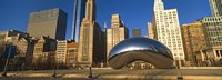 Cloud Gate sculpture with buildings in the background, Millennium Park, Chicago, Cook County, Illinois, USA Fine Art Print