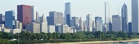 """City skyline with Lake Michigan and Lake Shore Drive in foreground, Chicago, Illinois, USA by Panoramic Images - 27"""" x 9"""""""