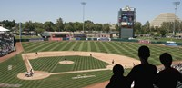 Spectator watching a baseball match at stadium, Raley Field, West Sacramento, Yolo County, California, USA Fine Art Print