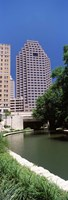 """Buildings at the waterfront, Weston Centre, NBC Plaza, San Antonio, Texas, USA by Panoramic Images - 9"""" x 27"""", FulcrumGallery.com brand"""