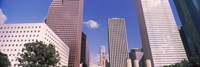 """Low angle view of Downtown skylines, Houston, Texas, USA by Panoramic Images - 27"""" x 9"""""""