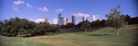 """Downtown skylines viewed from a park, Houston, Texas, USA by Panoramic Images - 27"""" x 9"""""""