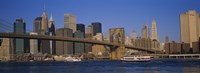 """Suspension bridge with skyscrapers in the background, Brooklyn Bridge, East River, Manhattan, New York City by Panoramic Images - 27"""" x 9"""""""