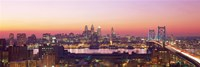 "Arial View Of The City At Twilight, Philadelphia, Pennsylvania, USA by Panoramic Images - 36"" x 12"""