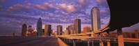 """Dallas Skyscrapers ( Purple Sky) by Panoramic Images - 36"""" x 12"""", FulcrumGallery.com brand"""