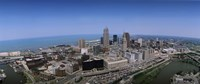 """Aerial view of buildings in a city, Cleveland, Cuyahoga County, Ohio, USA by Panoramic Images - 36"""" x 12"""", FulcrumGallery.com brand"""
