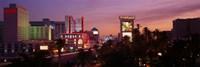 """Casinos At Twilight, Las Vegas, Nevada, USA by Panoramic Images - 36"""" x 12"""""""