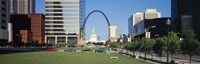"""Buildings in a city, Gateway Arch, Old Courthouse, St. Louis, Missouri, USA by Panoramic Images - 36"""" x 12"""""""