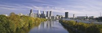 """Reflection of buildings in water, Schuylkill River, Northwest Philadelphia, Philadelphia, Pennsylvania, USA by Panoramic Images - 36"""" x 12"""""""