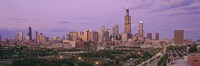 """View Of A Cityscape At Twilight, Chicago, Illinois, USA by Panoramic Images - 36"""" x 12"""", FulcrumGallery.com brand"""