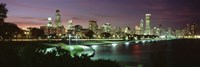 """Chicago Lit Up at Night by Panoramic Images - 36"""" x 12"""""""