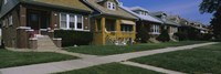 """Bungalows in a row, Berwyn, Chicago, Cook County, Illinois, USA by Panoramic Images - 36"""" x 12"""", FulcrumGallery.com brand"""