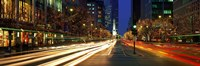 """Blurred Motion, Cars, Michigan Avenue, Christmas Lights, Chicago, Illinois, USA by Panoramic Images - 36"""" x 12"""""""