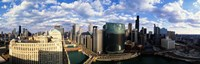 """Aerial View of Chicago and river by Panoramic Images - 36"""" x 12"""""""