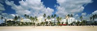 "Hotels on the beach, Art Deco Hotels, Ocean Drive, Miami Beach, Florida, USA by Panoramic Images - 36"" x 12"""