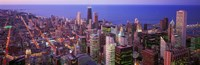 "Aerial View of Chicago with Purple Sky by Panoramic Images - 36"" x 12"""