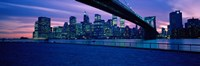 "Panoramic View of New York City with Purple Sky by Panoramic Images - 36"" x 12"""